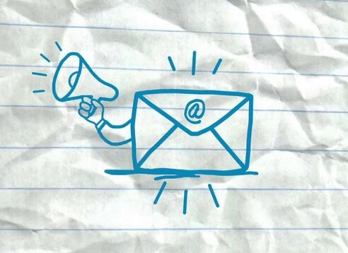 cartoon envelope with megaphone