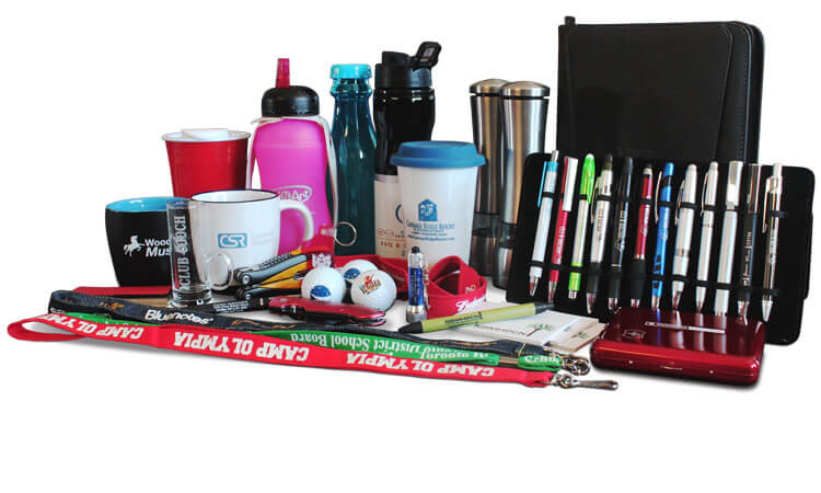 Branded promotional products collage