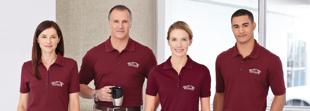 employees wearing matching branded apparel for brand awareness
