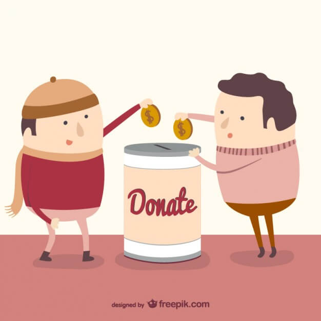 cartoon of donors placing money in a donation box