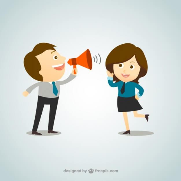 cartoon man speaking through megaphone to woman