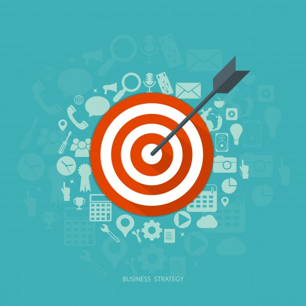 target with arrow in center surrounded by graphic representations of marketing elements