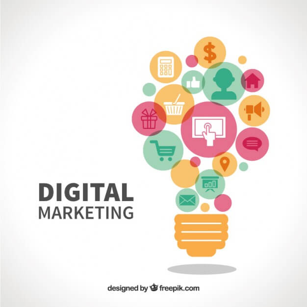 digital marketing text with light bulb graphic