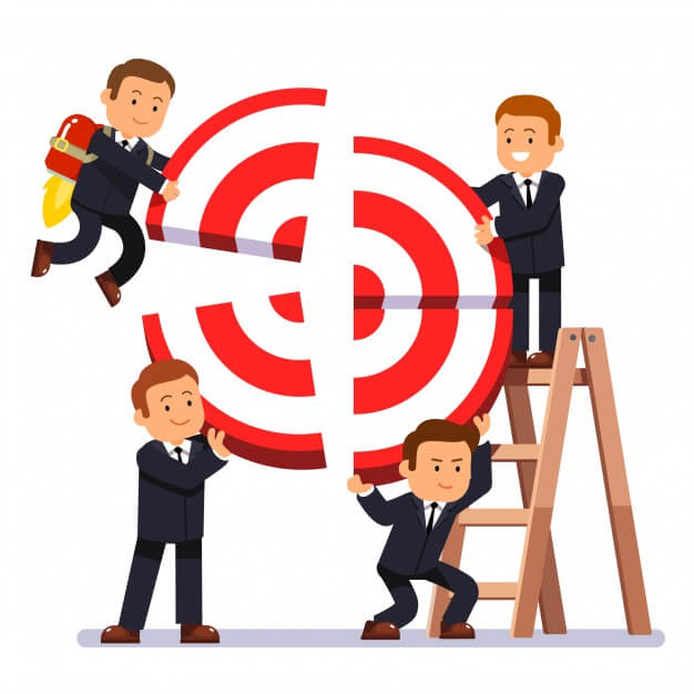 cartoon businessmen building target to improve brand perception