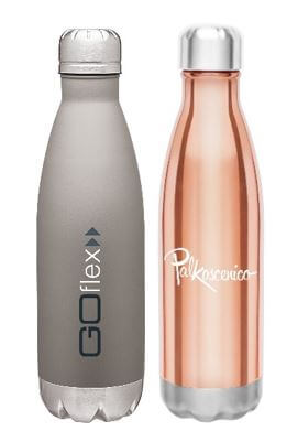 two metal water bottles gray with blue and white logo and copper with white logo