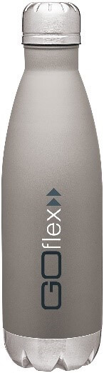 gray metal water bottle decorated with blue and white logo
