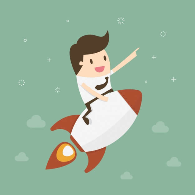 cartoon of businessman riding rocket toward space