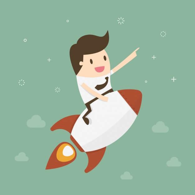 cartoon of businessman riding rocket toward space