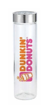 glass water bottle with steel lid decorated with orange and pink dunkin donuts logo