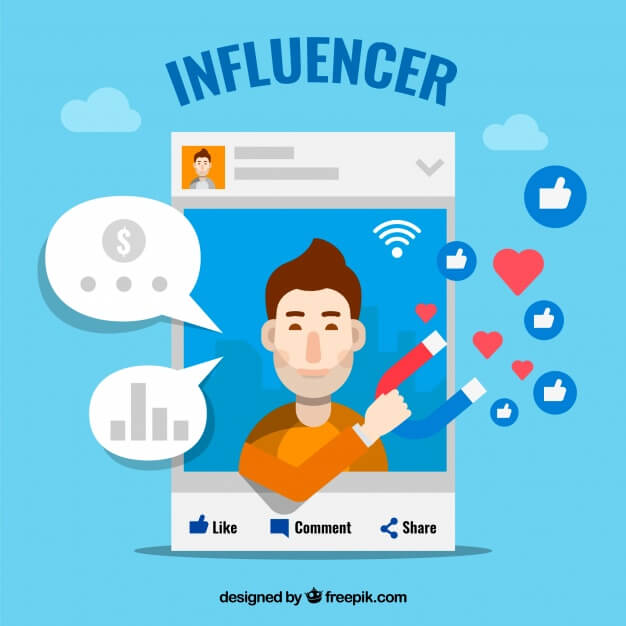 illustration reading influencer of social media post with man holding magnet attracting likes