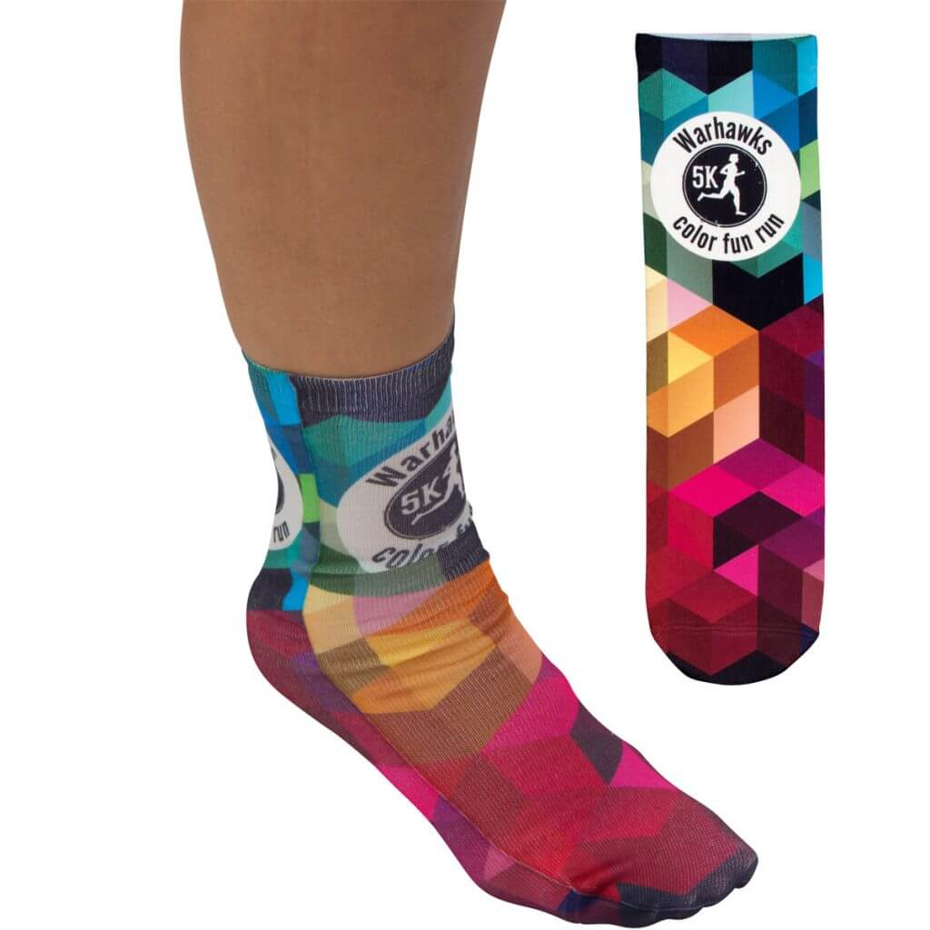 colorful promotional sock on foot depicting corporate logo