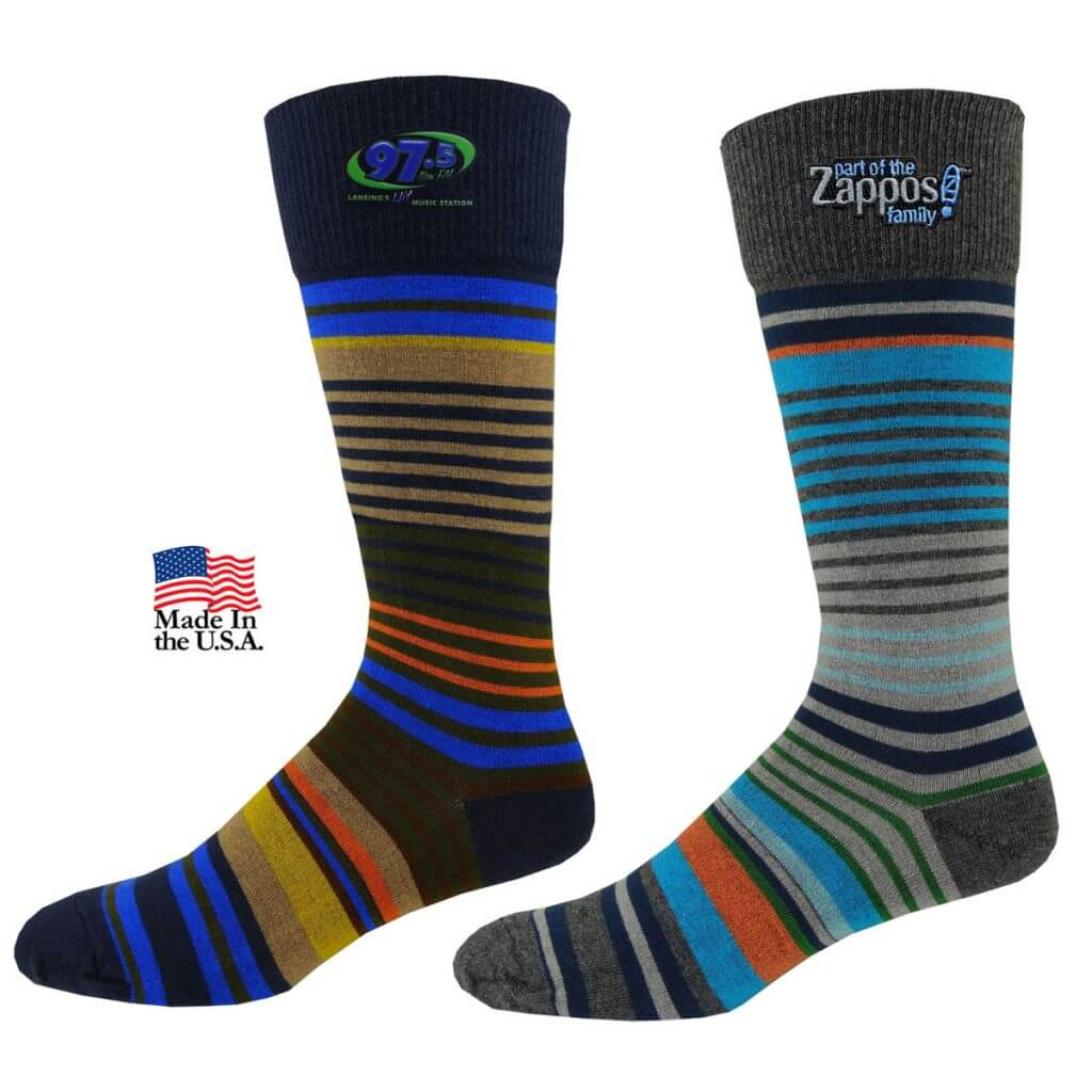 two striped socks embroidered with business logos on cuff