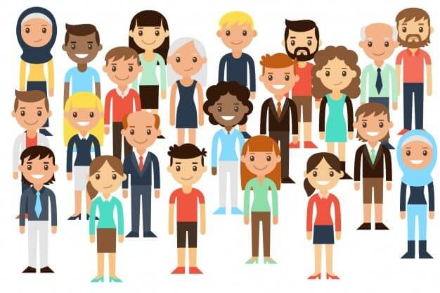 diverse group of people facing forward cartoon