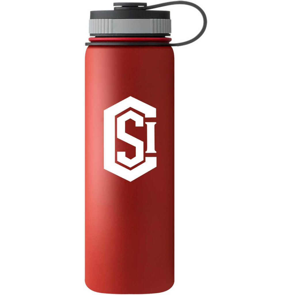red metal hydroflask water bottle imprinted with white CSI logo