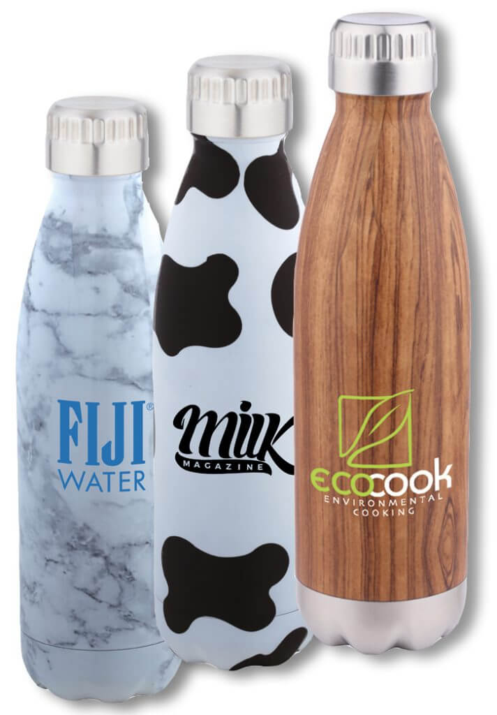 branded patterned water bottles