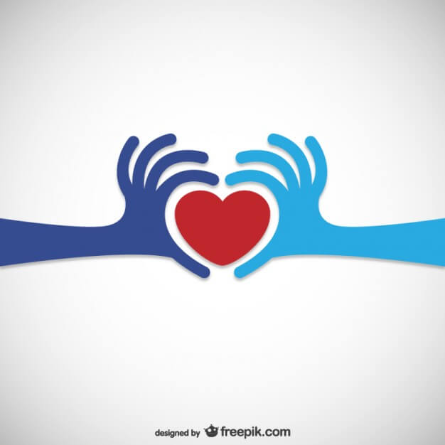 two hands holding heart symbol