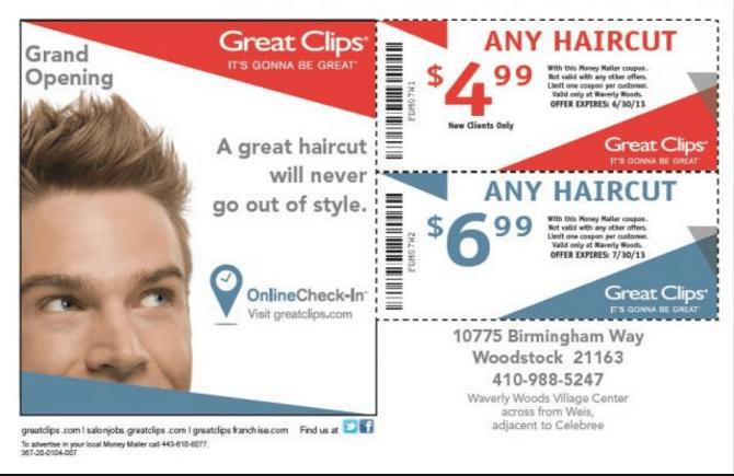 direct mail postcard hair cut coupons