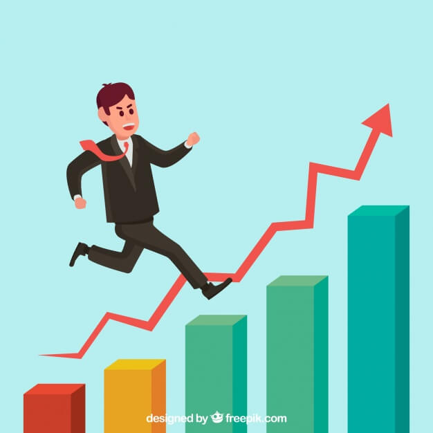 illustration man running up bar graph