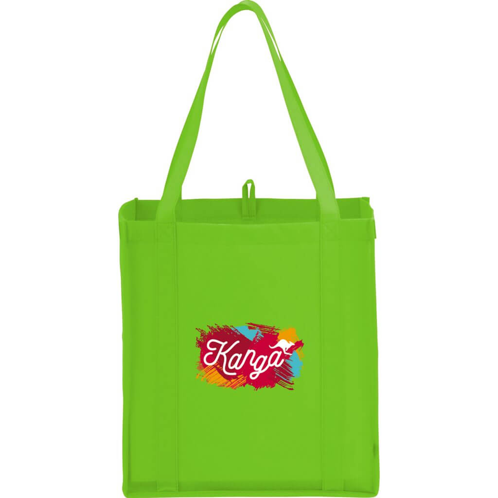 Green branded tote bag with promotional logo