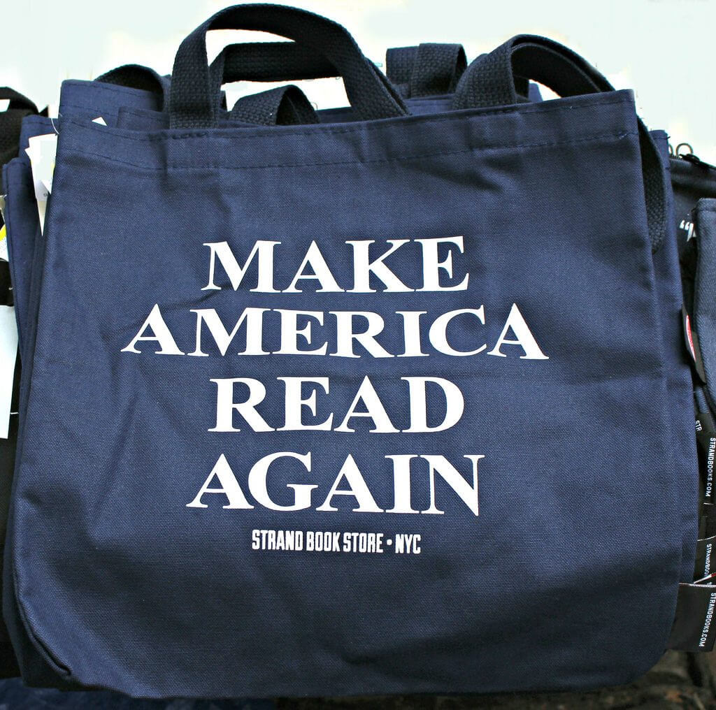 Branded tote from The Strand bookstore reading Make America Read Again