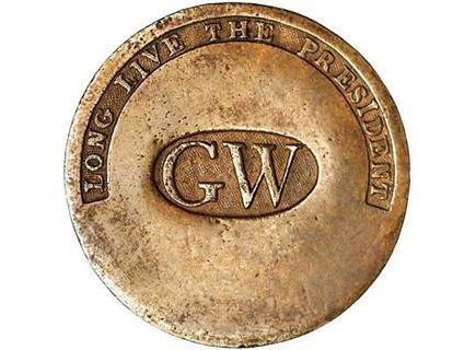 Promotional campaign button from 1789 for George Washington
