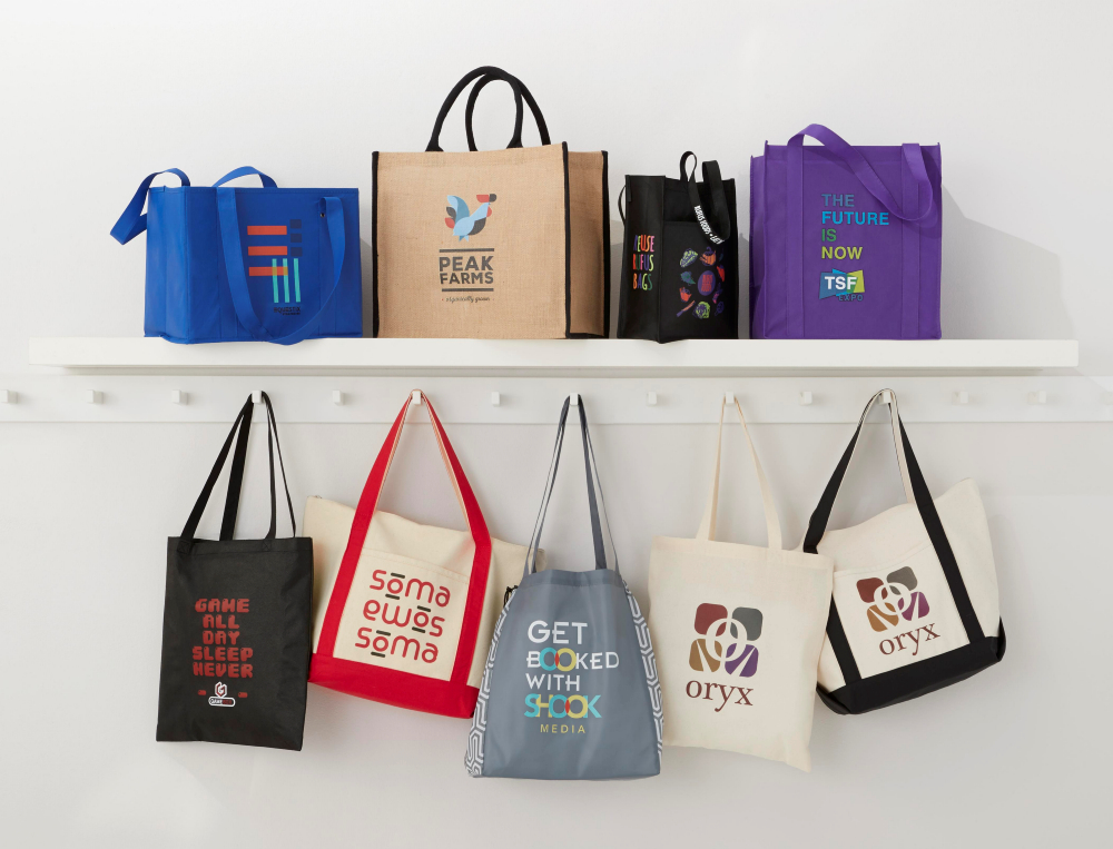 tote bags hanging on wall