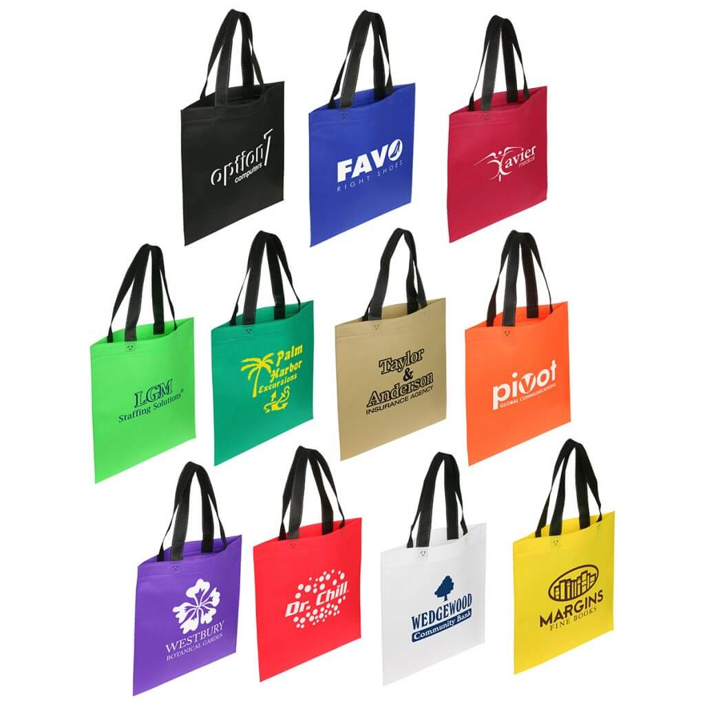Branded totes in a variety of colors