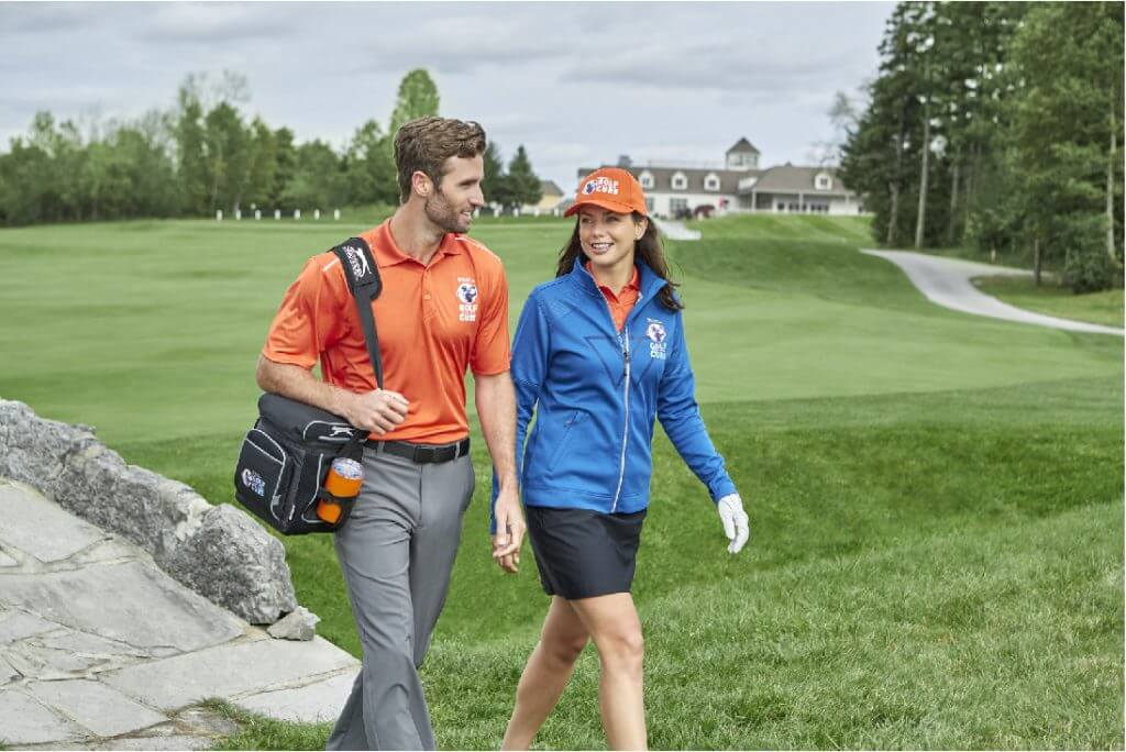 Golf course man and woman using branded promotional products