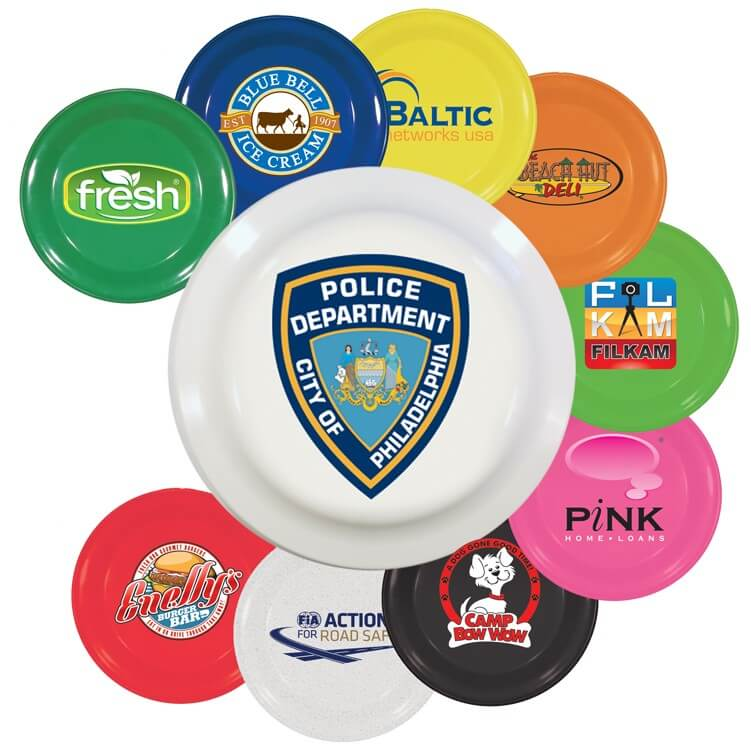 Array of colorful branded frisbees