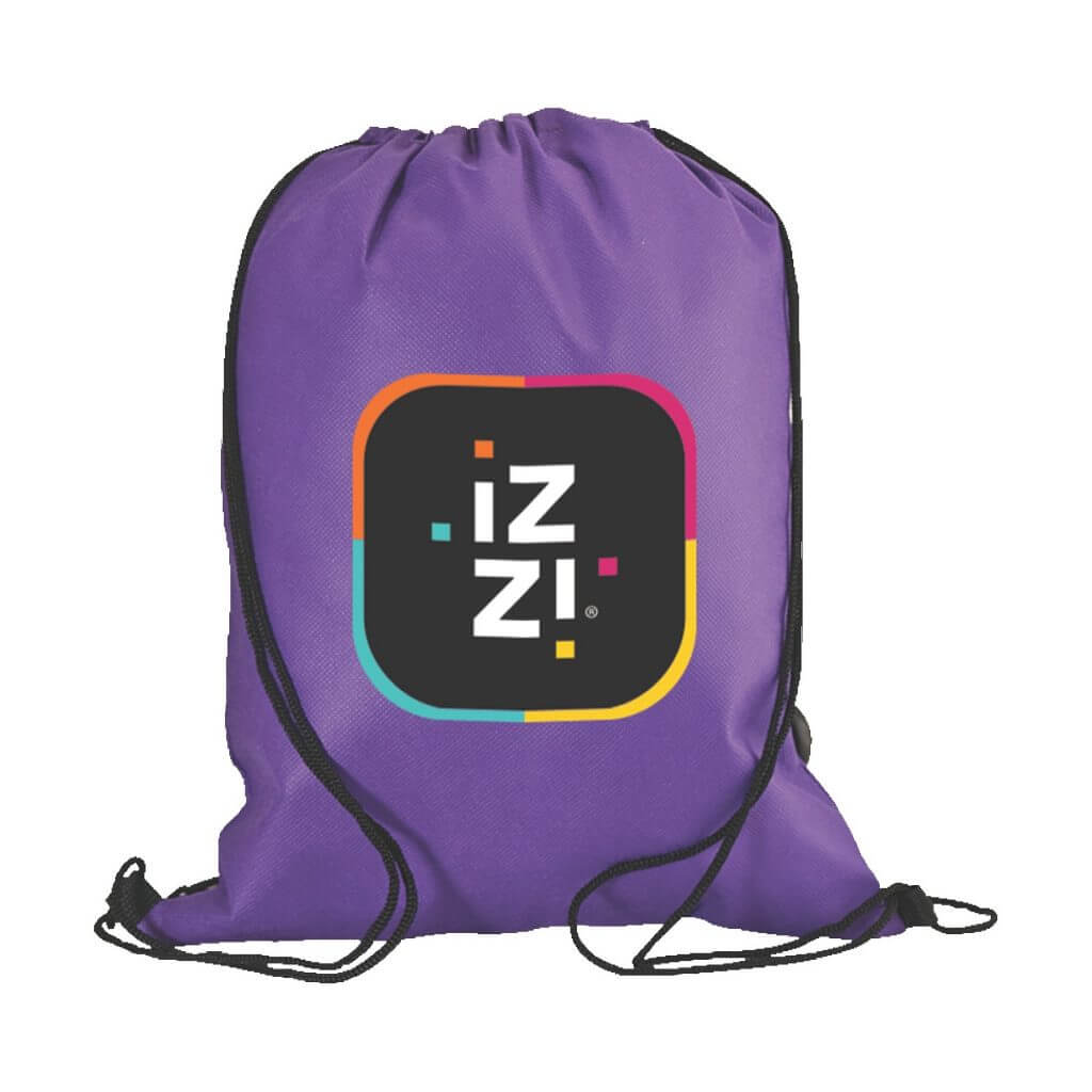 Purple drawstring backpack with full color logo art