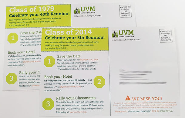 UVM postcard mailing variable imagery