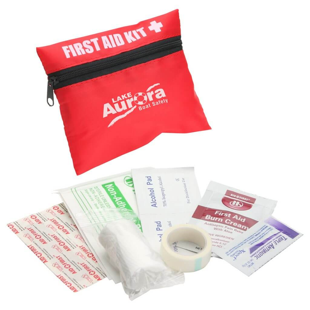 Red first aid kit with white logo
