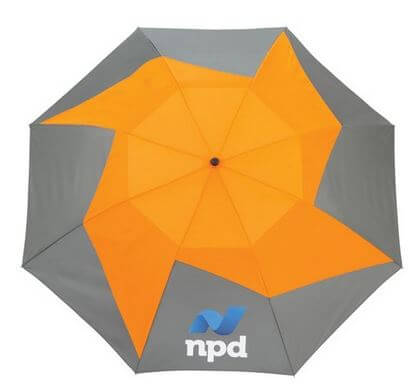 Top of umbrella with branding
