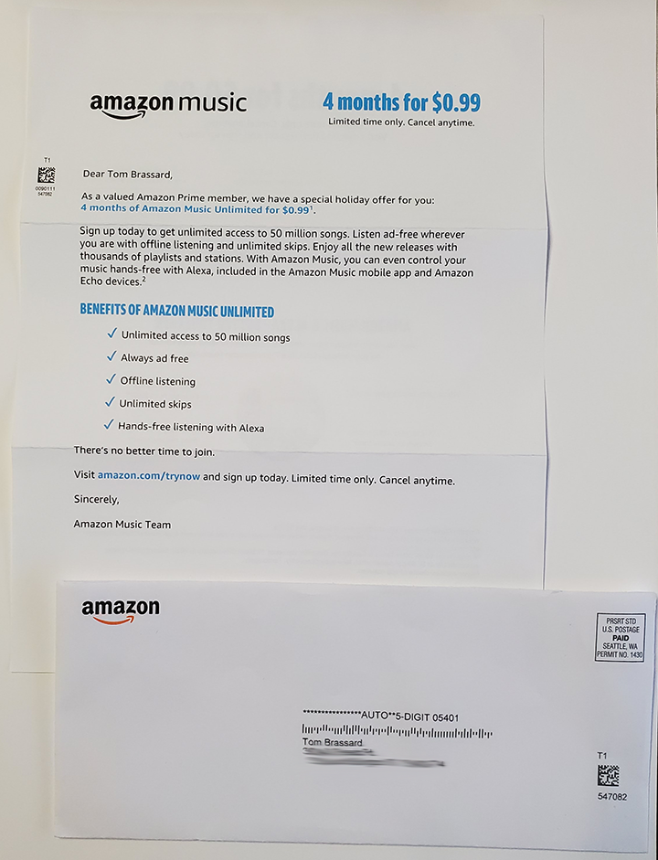 Amazon Direct Mail letter and envelope