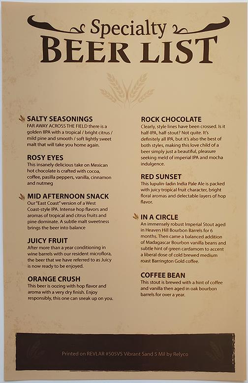 beer list menu printed on synthetic paper