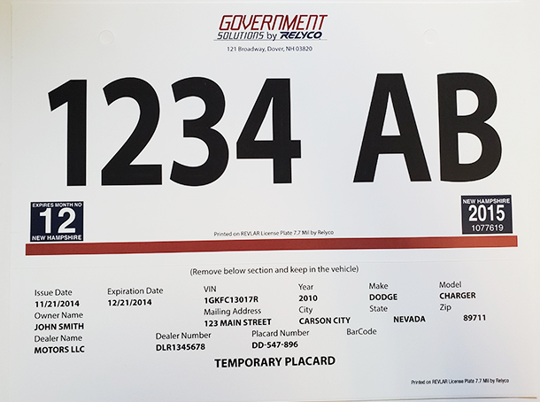 Temporary license plate printed on synthetic paper