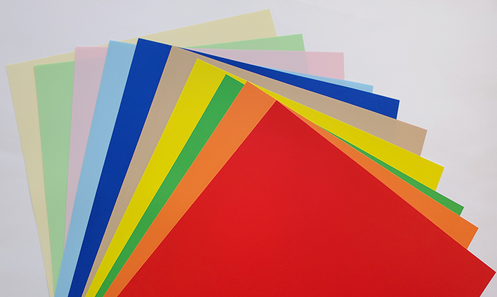 Colorful sheets of synthetic paper