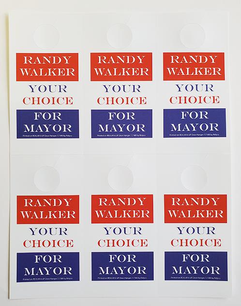 Political printing door hangers on synthetic paper