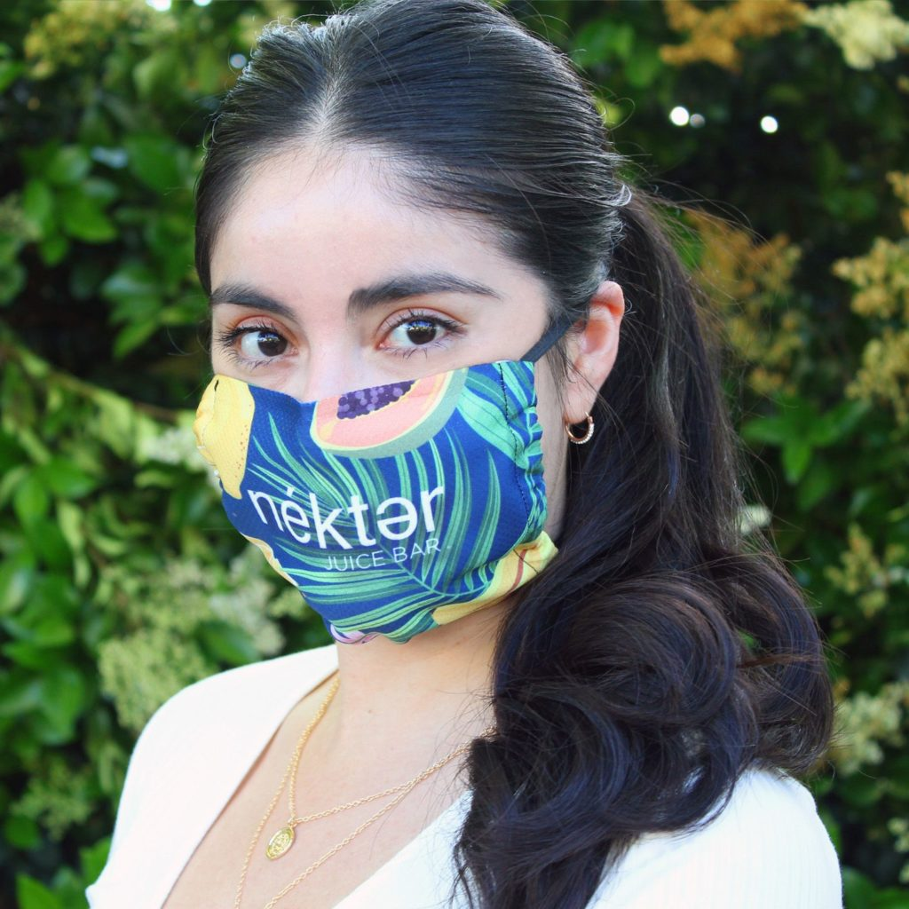 Woman wearing full color face mask
